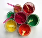 Colored pigment. In various bins Stock Image