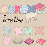 Colored pillows or cushions for home interior vector illustration