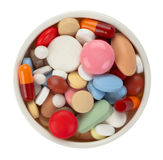 Colored pills Stock Images