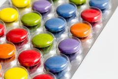 Colored pills in detail Royalty Free Stock Image
