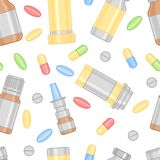 Colored Pills and Drugs Pattern Stock Images