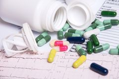 Colored pills for effective treatment Royalty Free Stock Photo