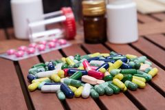 Colored pills for effective treatment Royalty Free Stock Images