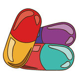 Colored pills and granules medical Royalty Free Stock Photo