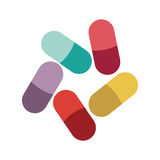 Colored pills and granules medical Stock Images