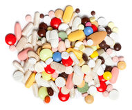 Colored pills, tablets and capsules Stock Photo