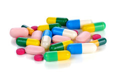 Colored pills, tablets and capsules Royalty Free Stock Images