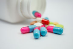 Colored pills, tablets and capsules Stock Photography