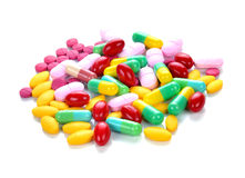 Colored pills and tablets Stock Image