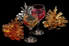 Colored pine cones and wine. Royalty Free Stock Photography