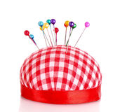 Colored pinheads in pin-cushion isolated Royalty Free Stock Photos
