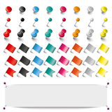 Colored Pins Flags Tacks Set Banner Stock Image