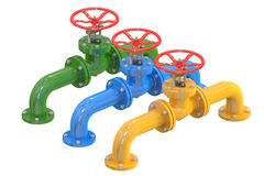 Colored pipelines with valves Royalty Free Stock Images