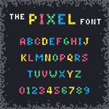 Colored pixel font and alphabet in a flat style. Vector stylized colored pixel font and alphabet in a flat style Stock Image