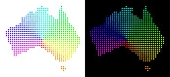 Colored Pixelated Australia Map. Spectral dot Australia map. Vector territorial plan in bright spectrum colors with circular gradient on white and black stock illustration
