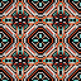 Colored pixels in retro style tribal vintage seamless pattern Stock Photos