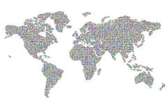 Colored pixels world map Stock Photos