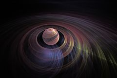 Colored planet with rings. 3D illustration colored planet with colored concentric rings on a black background in outer space with blue planet under the twists stock illustration