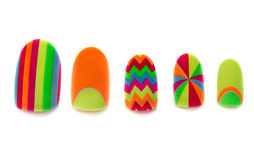 Colored, plastic artificial nails Royalty Free Stock Photo