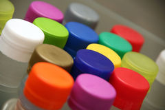 Colored plastic bottle caps Stock Images