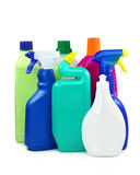 Colored plastic bottles stock image