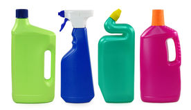 Colored plastic bottles stock photo