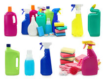 Colored plastic bottles Stock Photos