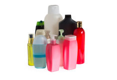 Colored plastic bottles with batcher Stock Photography