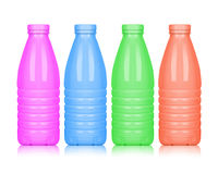 Colored plastic bottles isolated on white background.  royalty free stock photos