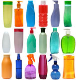 Colored plastic bottles with liquid soap and Royalty Free Stock Images