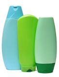 Colored plastic bottles with liquid soap and Stock Image