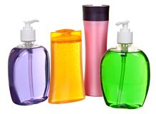 Colored plastic bottles with liquid soap and royalty free stock photography