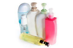 Colored plastic bottles Royalty Free Stock Images