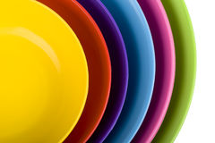 Colored plastic bowls Stock Photography