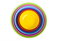 Colored plastic bowls Stock Image