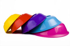 Colored plastic bowls Stock Images