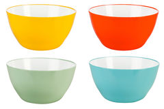 Colored plastic bowls on white background Royalty Free Stock Photo