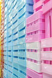Colored plastic boxes. The Colored plastic boxes for sale royalty free stock photography