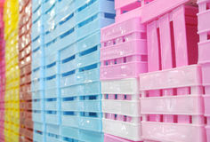 Colored plastic boxes. The Colored plastic boxes for sale stock image