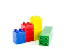 Colored plastic building blocks isolated Royalty Free Stock Image
