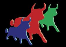 Colored plastic bulls Royalty Free Stock Photography