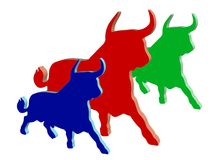Colored plastic bulls Stock Image