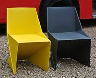 Colored plastic chairs detail stock photo