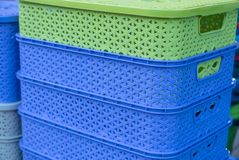 Colored plastic containers. Blu and green Stock Photo