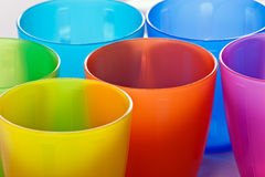 Colored plastic cups Stock Photos