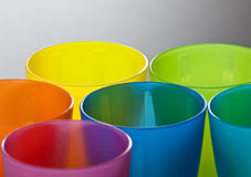 Colored plastic cups Royalty Free Stock Photography