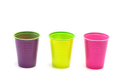 Colored plastic cups Stock Image