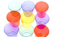 Colored plastic cups stock photo
