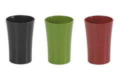 Colored plastic cups on white background Stock Image