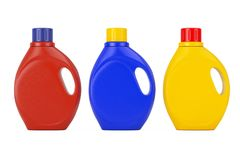 Colored Plastic Detergent Container Bottle with Blank Space for. Colored Plastic Detergent Container Bottles with Blank Space for Yours Design on a white Royalty Free Stock Photography